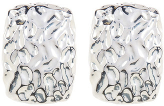 SIMON SEBBAG Sterling Silver Hammered Rectangle Clip-On Earring $190 thestylecure.com