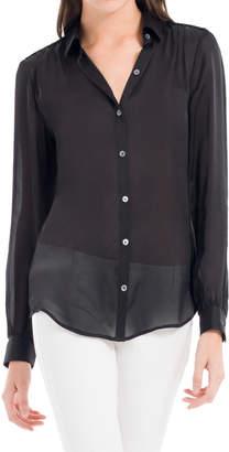 Max Studio translucent silk charmuse shirt
