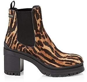 Prada Women's Ocelot-Print Calf Hair Leather Chelsea Boots