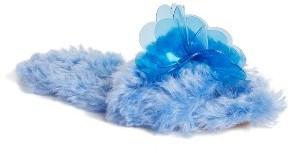 Women's Miu Miu Floral Faux Fur Slide Sandal