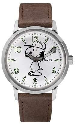 Timex R) x Peanuts(R) Welton Vintage Snoopy Leather Strap Watch, 40mm