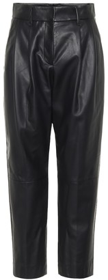 Brunello Cucinelli High-rise straight leather pants