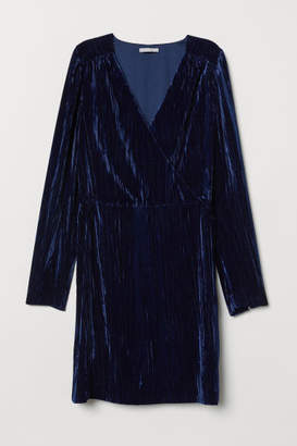 H&M Crushed-velvet Dress - Blue
