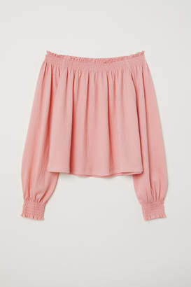 H&M Off-the-shoulder Blouse - Pink