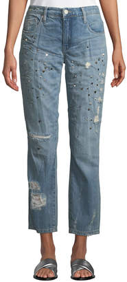 Blank NYC Secret Weapon Distressed Studded Straight-Leg Jeans