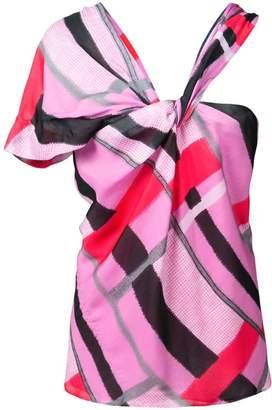 Natori asymmetric geometric blouse