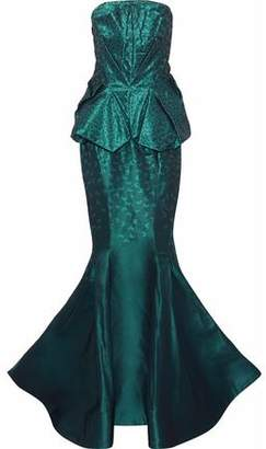 Zac Posen Strapless Flared Jacquard Gown