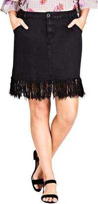 City Chic Frayed Hem Denim Skirt