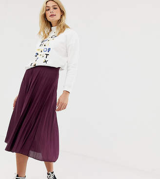 Asos Tall DESIGN Tall pleated midi skirt in jersey crepe