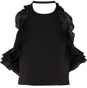 Badgley Mischka Halterneck Ruffled Silk-Organza And Cady Top