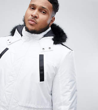 Asos DESIGN Plus parka jacket with faux fur trim in white