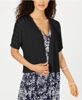 Charter Club Pointelle-Pattern Open-Front Cardigan