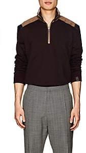 Lanvin MEN'S COLORBLOCKED COTTON QUARTER-ZIP PULLOVER-WINE SIZE M
