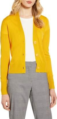 Halogen V-Neck Merino Wool Jersey Cardigan