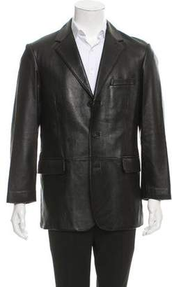 Balenciaga Leather Three-Button Blazer