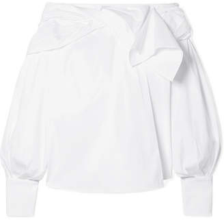 Carolina Herrera Twisted Off-the-shoulder Cotton-blend Poplin Top - White