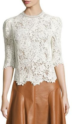 Rebecca Taylor Arella Lace Mock-Neck 3/4-Sleeve Top, White $425 thestylecure.com