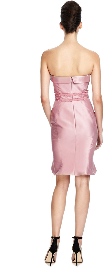 Zac Posen Silk Strapless Geometric Dress