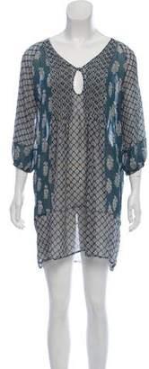 Joie Semi-Sheer Printed Mini Dress