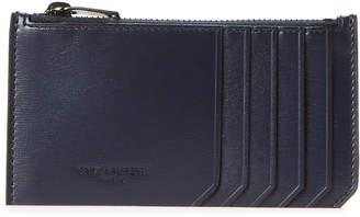 Saint Laurent Navy Fragments Zip-Top Leather Card Case