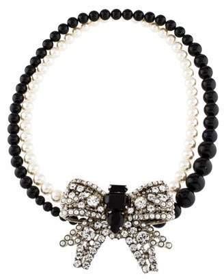 Miu Miu Crystal, Faux Pearl, & Glass Bead Bow Necklace