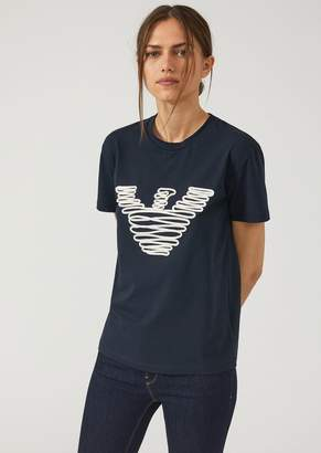 Emporio Armani T-Shirt In Jersey With Spiral Embroidered Logo