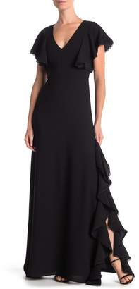 ML Monique Lhuillier V-Neck Flutter Sleeve Maxi Dress