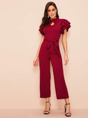 f692066a8534 Shein 70s Cut Out Front Layered Sleeve Belted Jumpsuit