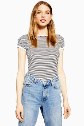 Topshop Stripe Piping T-Shirt