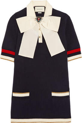 Gucci - Pussy-bow Knitted Cotton-blend Tunic - Navy $1,800 thestylecure.com