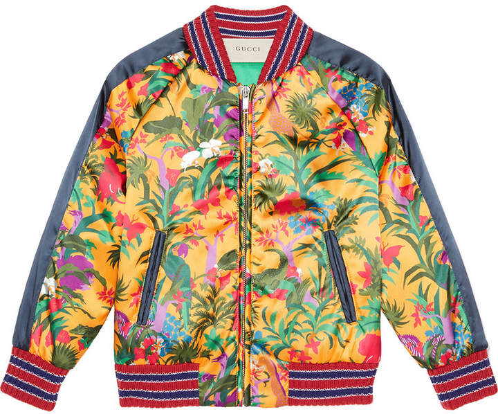 Gucci Kids jungle print bomber jacket