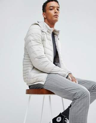 Bershka Quilted Jacket With Detachable Hood In Light Gray