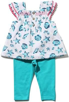 M&Co Seashell print smock top and leggings set