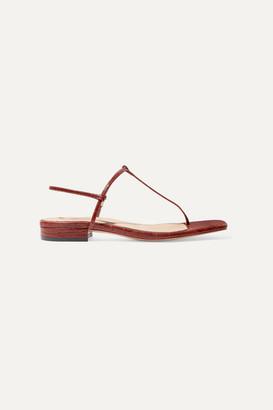 STUDIO AMELIA - 1.4 Croc-effect Leather Sandals - Brown