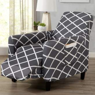 Winston Porter Form Fitting Stretch Diamond Printed T-cushion Recliner Slipcover