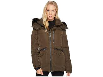 Calvin Klein Puffer Short with Fur Trimmed Hood Women's Coat