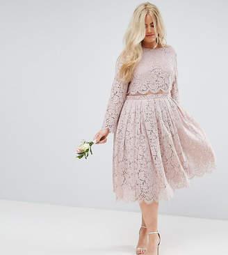 Asos Design Curve Bridesmaid Lace Long Sleeve Midi Prom Dress