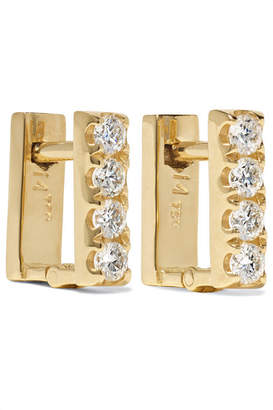 Ileana Makri - Mini Square 18-karat Gold Diamond Earrings