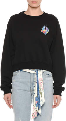 Off-White Off White Micro-Environment Patch Crewneck Cropped Cotton Sweatshirt