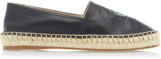 Prada Logo-Embossed Leather Espadrilles