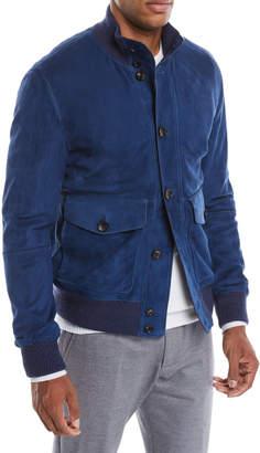 Ermenegildo Zegna Men's Button-Front Suede Bomber Jacket