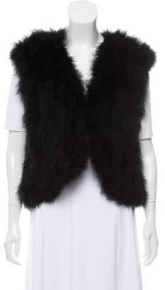Adrienne Landau Feather Cropped Vest