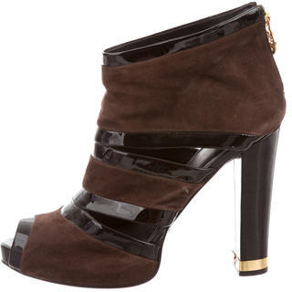 Tory BurchTory Burch Suede Peep-Toe Ankle Boots