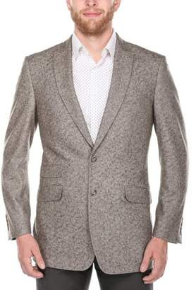 Verno Bacchi Big Men's Light Brown Patterned Classic Fit Italian Styled Wool Blazer