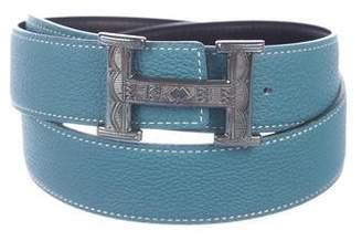 Hermes Reversible Sterling Touareg H Belt Kit
