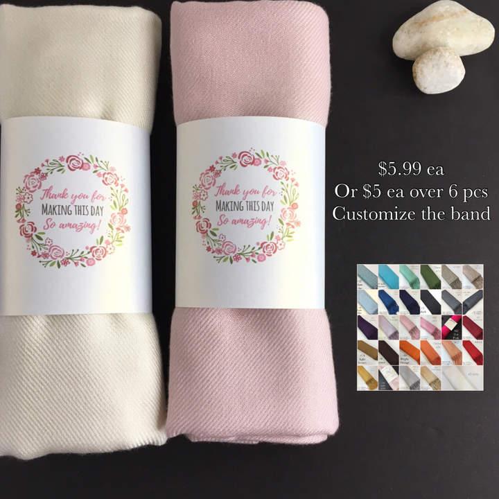 Etsy 12 Pashminas Handmade- Any color- Pashminas Bridesmaids -pashmina shawl - pashmina as a favor - pas