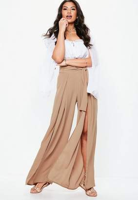 Missguided Tall Blush Extreme Split Belted Wide Leg Pants