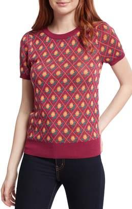 ModCloth Vintage Print Short Sleeve Cotton Blend Sweater