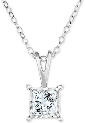 "Trumiracle Diamond Princess Solitaire 18"" Pendant Necklace (1/2 ct. t.w.) in 14k White Gold"