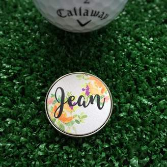 Hope and Halcyon Personalised Orange Flower Golf Ball Marker